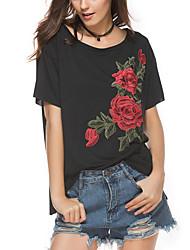 Tee-shirt Femme,Broderie Plein Air Chic de Rue Eté Manches Courtes Col Arrondi Mélange de Coton Moyen