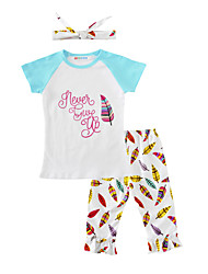 Girls' Print Sets Cotton Summer Short Sleeve Clothing Set Feather T Shirt Short Pants with Headbands 3pcs Outfits for Kids