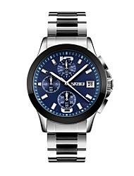 SKMEI Pánské Hodinky k šatům Náramkové hodinky japonština Křemenný Kalendář Voděodolné Stopky Nerez Kapela Retro Cool Stříbro