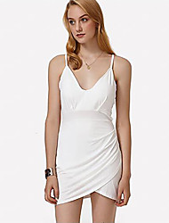 Femme lacet Moulante Robe Soirée Sexy,Couleur Pleine A Bretelles V Profond Mini Sans Manches Coton Autres Eté Taille Normale