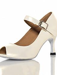 Damen Latin Leder Sandalen Sneakers Professionell Verschlussschnalle Stöckelabsatz Weiß 5 - 6,8 cm Maßfertigung