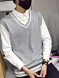 Для мужчин Повседневные Обычный Пуловер Однотонный,V-образный вырез Без рукавов Хлопок Весна Тонкая Слабоэластичная