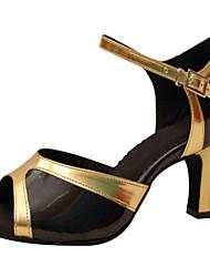 Для женщин Латина Искусственная кожа Сандалии Для начинающих С пряжкой На шпильке Черный и золотой 7,5 - 9,5 см Персонализируемая