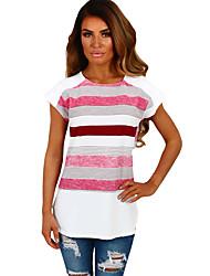 Tee-shirt Femme,Lignes / Vagues Anniversaire Quotidien Mignon Eté Manches Courtes Col Arrondi Polyester Spandex Moyen