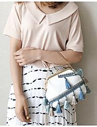 Women Shoulder Bag Canvas All Seasons Casual Baguette Kiss Lock White Black