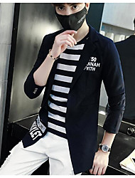 Men's Going out Casual/Daily Work Simple Spring/Fall Blazer,Solid Quotes & Sayings Word/Phrase Notch Lapel Long Sleeve RegularCotton