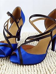 "Women's Latin Faux Leather Sandals Beginner Ribbon Tie Stiletto Heel Blue 3"" - 3 3/4"" Customizable"