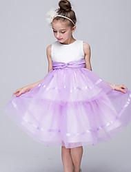 Vestido feminino princesa de joelho com vestido de flor - Jóia sem mangas de cetim com babados