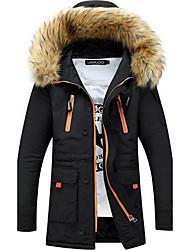 Men's Long Padded Coat,Street chic Plus Size Solid-Cotton Polypropylene Long Sleeve