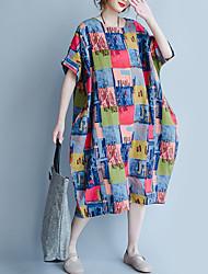Ample Robe Femme Décontracté / Quotidien Vintage,Géométrique Col Arrondi Midi Demi Manches Coton Lin Toutes les Saisons Eté Taille Normale