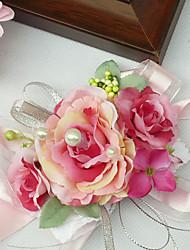 """Fleurs de mariage Petit bouquet de fleurs au poignet Cérémonie de mariage Mousseline de soie 3.94""""(Env.10cm)"""