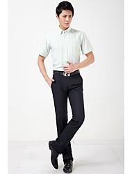 Camicia Da uomo Per uscire Casual Ufficio Semplice Per tutte le stagioni Estate,A strisce Colletto Cotone Poliestere Manica corta Sottile