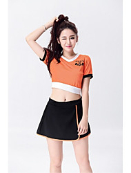 Cheerleader Costumes Outfits Women's Performance Elastic Stretch Satin 2 Pieces Short Sleeve Natural Skirts Tops