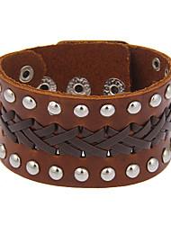 Femme Homme Bracelets en cuir Bijoux Naturel Fait à la main Gothique Mode Vintage Bohême Style Punk Pierre CuirForme de Cercle Forme