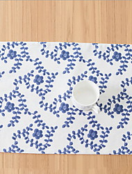 Chinese Style Retro Blue And White Style Cotton And Linen Material Table Placemat 32*45cm