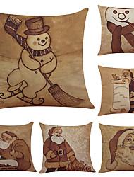 6 pcs Lin Coton/Lin Housse de coussin Taie d'oreiller,Texturé Traditionnel/Classique Soutenir Plage