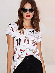 Tee-shirt Femme,Imprimé Plein Air Chic de Rue Eté Manches Courtes Col Arrondi Tricot roman Moyen
