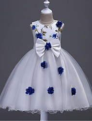 Ball Gown Knee Length Flower Girl Dress - Organza Jewel with Applique Embroidery Flower(s) Ruched Zipper