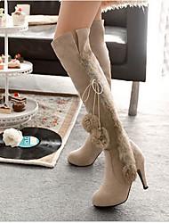 Women's Boots Comfort Snow Boots Fleece Winter Casual Comfort Snow Boots Beige Black 2in-2 3/4in