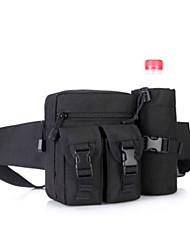 Men Waist Bag Nylon All Seasons Casual Outdoor Round Zipper Black
