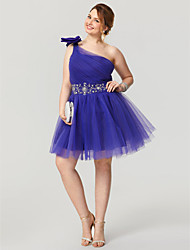 Princess One Shoulder Knee Length Tulle Cocktail Party Homecoming Dress with Beading by TS Couture®