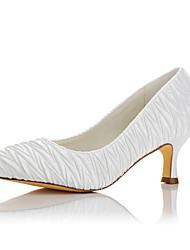 Women's Heels Basic Pump Satin Fall Winter Wedding Party & Evening Basic Pump White 2in-2 3/4in