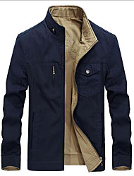 Men's Casual/Daily Simple Spring Fall Jacket,Solid Stand Long Sleeve Short Others