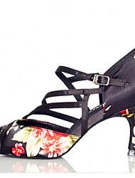 Feminino Tênis de Dança Pele Real Sandálias Tênis Exterior Salto Robusto Preto 5 - 6,8 cm