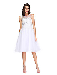 TS Couture Cocktail Party Prom Dress - Short Ball Gown Jewel Knee-length Tulle with Appliques Beading Pearl Detailing Sash / Ribbon