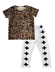 Baby Kids' Cotton Casual/Daily Leopard Print Clothing Set Spring/Fall Summer T Shirt Cross Pants 2pcs  Outfits for Kids Boys