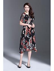 Dámské Vintage Sofistikované Jdeme ven Běžné/Denní Volné Šaty Tisk,Krátký rukáv Kulatý Asymetrické Hedvábí Polyester Jiné Léto Mid Rise