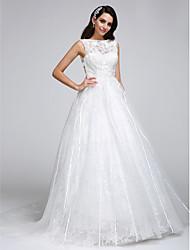 LAN TING BRIDE Linha A Vestido de casamento Transparências Cauda Corte Canoa Renda Tule com Renda