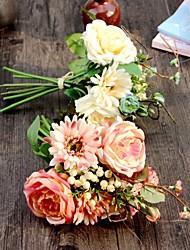 1 Pièce 1 Une succursale Soie Polyester Roses Fleur de Table Fleurs artificielles