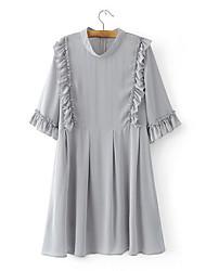 Debardeur Robes Costumes Femme,Couleur Pleine Quotidien simple Eté Col Ras du Cou