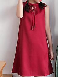Damen Tunika Kleid-Lässig/Alltäglich Einfach Solide Asymmetrisch Knielang Ärmellos Andere Sommer Mittlere Hüfthöhe Mikro-elastisch Mittel