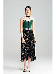 YIGELILA Women's Beach Going out Casual/Daily Holiday Asymmetrical SkirtsCute Street chic Trumpet/Mermaid Floral Chiffon Print Summer