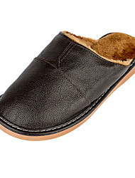 Winter Men's Leather Slippers Close-Toe Slip-On Indoor Shoes