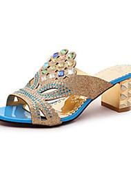 Women's Sandals Summer Comfort PU Outdoor Walking Chunky Heel Sparkling Glitter Royal Blue Blue Black