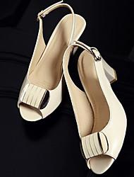 Mujer Sandalias Confort Cuero Patentado Verano Casual Confort Negro Beige 5 - 7 cms