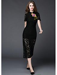 Dámské Vintage Jdeme ven Běžné/Denní Pouzdro Šaty Jednobarevné Výšivka,Krátký rukáv Stojáček Midi Polyester Léto Mid Rise Lehce elastické