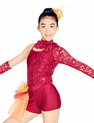 MiDee Ballet Leotards Women's Children's Performance Lace Tulle Lycra Lace Sequins Long Sleeve Natural
