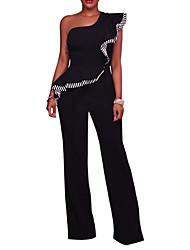 Для женщин Уличный стиль На выход На каждый день Для клуба Комбинезоны,С высокой талией Широкие Сексуальные платья Праздник Открытая спина