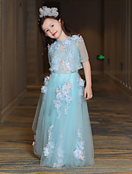 A-Line Floor Length Flower Girl Dress - Lace Satin Tulle Half Sleeves Jewel Neck with Pearl