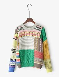 Для женщин На выход На каждый день Простое Обычный Пуловер Контрастных цветов,Круглый вырез Длинный рукав Хлопок Весна ОсеньТонкая