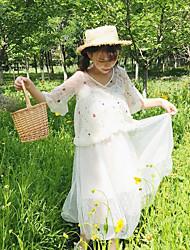 Feminino Rendas Vestido,Casual Simples Floral Decote V Acima do Joelho Manga Curta Renda Verão Cintura Média Micro-Elástica Média