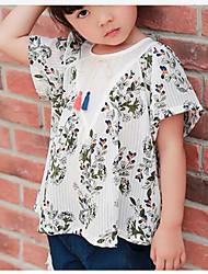 Girls' Floral Shirt,Cotton Summer Short Sleeve