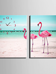 E-HOME® Flamingo On The Beach Clock in Canvas 2pcs
