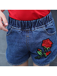 Girls' Solid Embroidered Shorts-Polyester Summer
