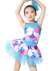 MiDee Jazz Dresses Women's / Children's Performance Spandex /Ribbon / Tiers / Polka Dots 2 Pieces Blue Jazz Sleeveless