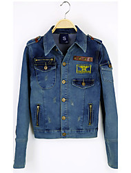 Women's Casual/Daily Punk & Gothic Spring Denim Jacket,Solid Shirt Collar Long Sleeve Short Cotton